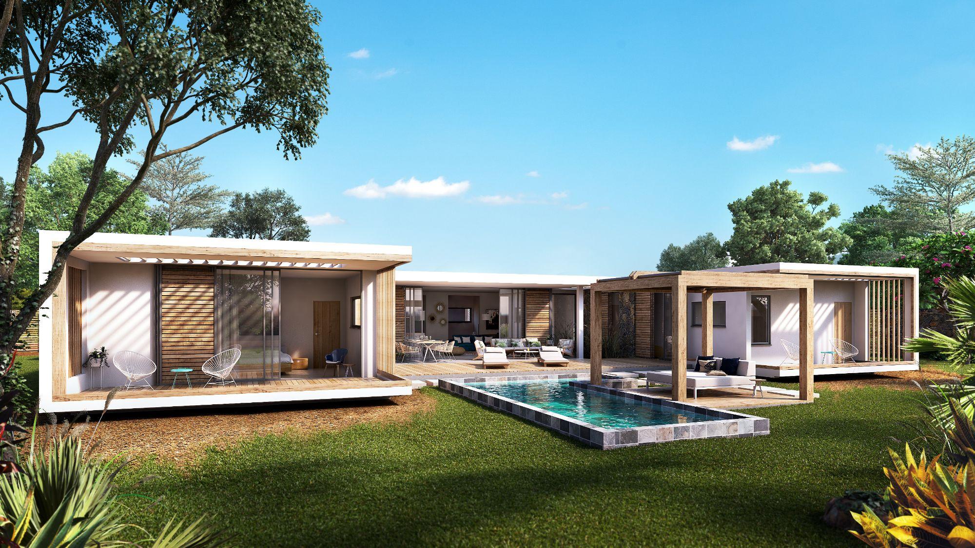 Villas de Luxe de type contemporain dans programme neuf au coeur du village de Tamarin
